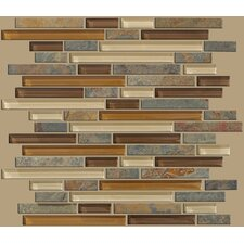 "Mixed Up 12"" x 12"" Random Linear Mosaic Slate Accent Tile in Crested Butter"