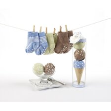 """Sweet Feet"" Three Scoops of Socks Gift Set in Blue"