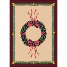 Winter Seasonal Holiday Wreath Novelty Rug