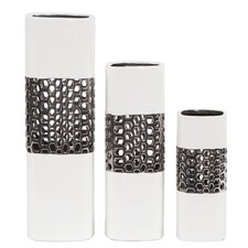 3 Piece Lattice Middle Square Ceramic Vase Set