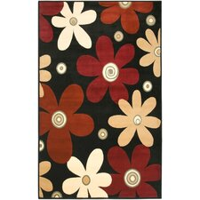 Diamond Black Floral Rug