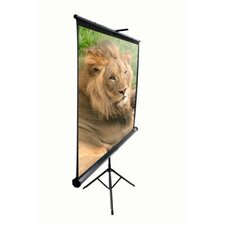 "MaxWhite Tripod Series Tripod / Portable Pull Up Projector Screen - 113"" Diagonal in Black Case"