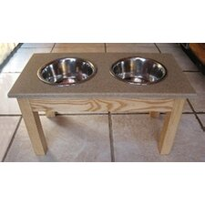 Ash Wood Pet Diner with Solid Surface Top
