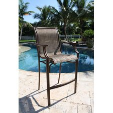 "Chub Cay Patio Sling Stackable 30"" Barstool in Walnut"