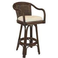 "Key West Indoor Rattan 24"" Swivel Counter Stool in Antique Finish"