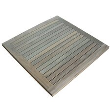 Greenface Square Teak Floor and Shower Mat in Natural