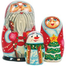 Russia 3 Piece Santa Family Nested Doll Set