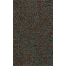 Deco Zebra Brown/Teal Blue Rug