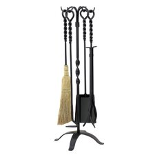 4 Piece Wrought Iron Twist Fire Tool Set With Stand