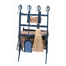 4 Piece Steel Log & Kindling Rack with Fire Tool Set With Stand