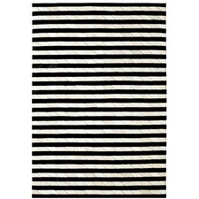 Leather Work Ivory/Black Stripe Rug