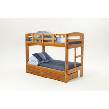 Rustic Arched Twin over Twin Bunk Bed with Built-In Ladder