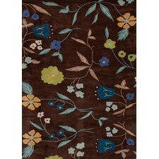 Midtown By Raymond Waites Brown Floral Rug