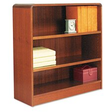 Radius Corner Bookcase, Finished Back, Wood Veneer, 3-Shelf, 36x12x36, Cherry