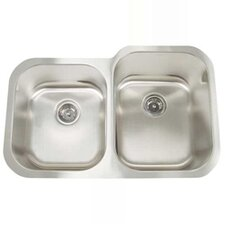 "Premium Series D 32.25"" x 21"" Double Bowl Equal Width Reverse Undermount Kitchen Sink"