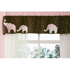 Pink Elephant Rod Pocket Tailored Curtain Valance