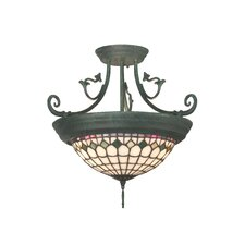 Diamond Edge Tiffany 4 Light Semi Flush Mount