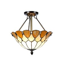 Scalloped Jeweled 2 Light Flush Mount