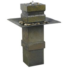 Cubist Slate Outdoor Floor Fountain