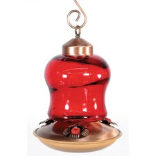 Audubon Red Glass Mini Lantern Hummingbird Feeder