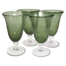 Iris Footed Iced Tea Glass in Sage (Set of 4)