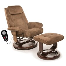 Leisure Faux Suede Reclining Heated Massage Chair with Ottoman