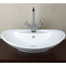 Oval Ceramic Vessel Bathroom Sink with Overflow