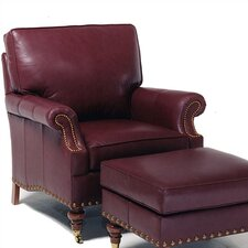 Lincoln Leather Chair and Ottoman