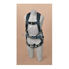 ExoFit™ Construction Vest Style Harness With Back D-Ring, Sewn-In Back Pad And Belt With Side D-Rings And Quick-Connect Buckles