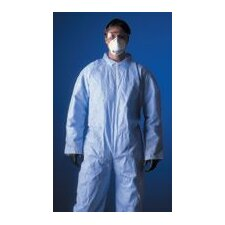 1 Large Blue Disposable Coverall With Hood, Elastic Wrists, Ankles And Back