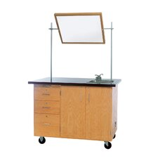 "Mobile Instructor's Desk With Drawers and Center Storage, 48""W x 28""D x 36""H"