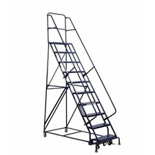 GSW Series Steel Rolling Warehouse Ladder w/ Handrails - steel rolling warehouseladder