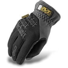 Black FastFit® Synthetic Leather And Spandex Mechanics Gloves With Reinforced Thumb, Index Finger And Fingertips