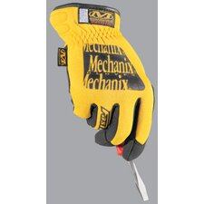 Large Yellow FastFit® Synthetic Leather And Spandex Mechanics Gloves With Reinforced Thumb, Index Finger And Fingertips