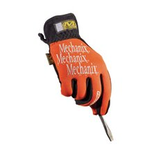 8 Orange Lycra® FastFit® Anti-Vibrations Gloves With Leather Palm And Angled Elastic Cuff
