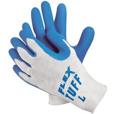 Premium Latex Coated String Gloves - flex-tuff 10 gage bluelatex ctd palm