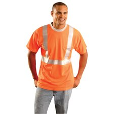 "High-Visibility Orange Wicking Polyester OccuLux® T-Shirt With 2"" Horizontal Reflective Stripe, 2"" Vertical Shoulder Stripes And Pocket"