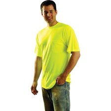 "Hi-Viz Yellow OccuLux® High Visibility Wicking Polyester T-Shirt With 2"" Horizontal Reflect Stripes & 2"" Wide Vertical Shoulder Stripes"