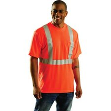 "Orange OccuLux® High Visibility Wicking Polyester T-Shirt With 360° Horizontal And Two Vertical 2"" Wide 3M™ Scotchlite™ Reflective Tape Stripes"