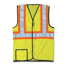 "OccuLux® High Visibility Yellow Two-Tone Cool Mesh Vest With 2"" Wide Horizontal Stripes And 2"" Wide Vertical Shoulder Stripes"