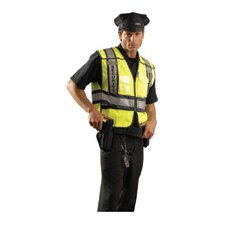 - Large Hi-Viz Yellow Public Safety Sheriff Vest With Hook And Loop Front Closure, Adjustable Sides, Five-Point Breakaway, Mic Tab, Clear Badge Chest Pocket, Radio Chest Pocket And 3M™ Scotchlite™ Reflective Tape