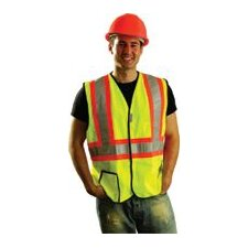 Two Tone OccuLux® High Visibility Fluorescent Yellow Vest With 3M™ Scotchlite™ Reflective Tape Trimmed, Trimmed In Bright Orange