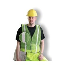 "Large Yellow Mesh Safety Vest With 1"" Silver Glossy Reflective Tape (Non ANSI Compliant)"