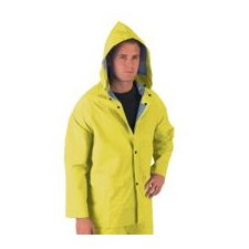 Yellow 0.35 mm Polyester Rain Jacket With Welded Seams, Storm Flap Over Snap Front Closure, Detachable Drawstring Hood, Snap Wrists, Cape Ventilated Back, 2 Patch Pockets With Flap And Underarm Air Vents