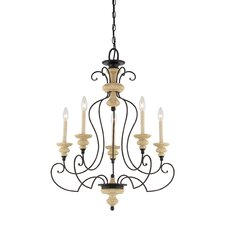 Shelby Five Light Chandelier in Sand Bisque and Earth Black