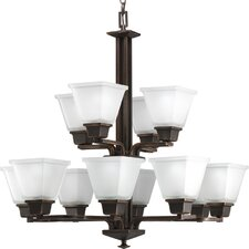 North Park Twelve Light Two Tier Chandelier in Venetian Bronze