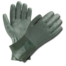 Green Double Dipped PVC Gloves with Jersey Lining