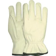 Large White Grain Goatskin Unlined Gunn Cut Drivers Gloves With Keystone Thumb And Bound Hem