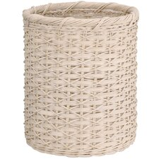 Natural Round Wicker Wastebasket in White