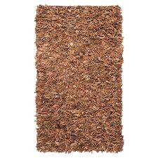 Leather Shag Brown Rug